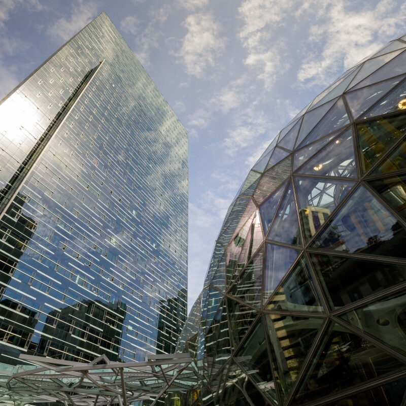 Exterior shot of Amazon's Seattle Campus 2017 building sphere outside.