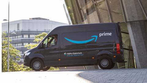 Mercedes Benz van with Amazon Prime branding on it.