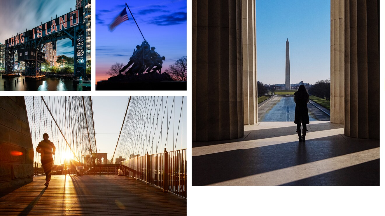 "Six images in a collage featuring scenes from New York City, NY, Arlington, VA, and Nashville, TN. From top left: Long Island bridge with ""LONG ISLAND"" painted on the side of the bridge in red and white, The Marine Corps War Memorial which was inspired by the iconic 1945 photograph of six Marines raising a U.S. flag atop Mount Suribachi during the Battle of Iwo Jima in World War II. A person runs across a bridge as the sun rises behind them. A person stands in the shadows of the Lincoln Memorial, facing the Washington Monument. A person wears a pair of red cowboy boots , standing on double yellow lines on a road. A downtown scene of Nashville at night, showing the Grand Ol Opry and other street signs."