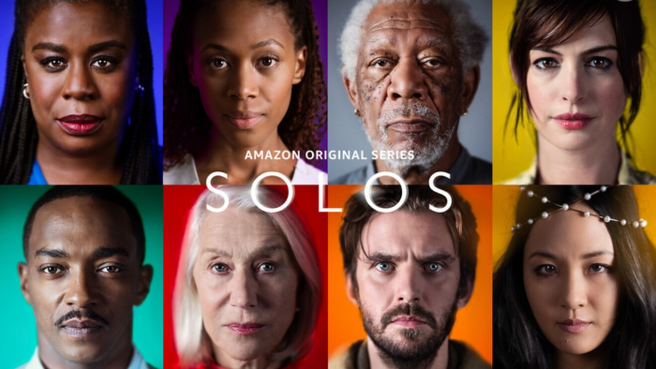 Cover art for the series, SOLOS, featuring headshots of all eight of the actors in the series, each with a different color of backdrop behind them.