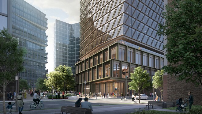 An image of the outside of the Amazon Tech Hub in Boston, Massachusetts.