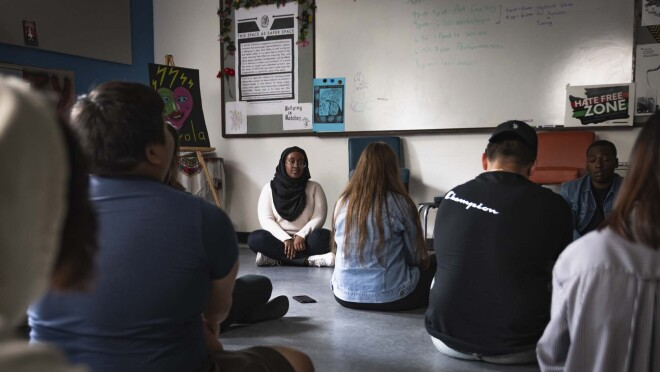 """High school students practice mindful meditation while using the new Alexa skill, """"Keep Calm"""""""