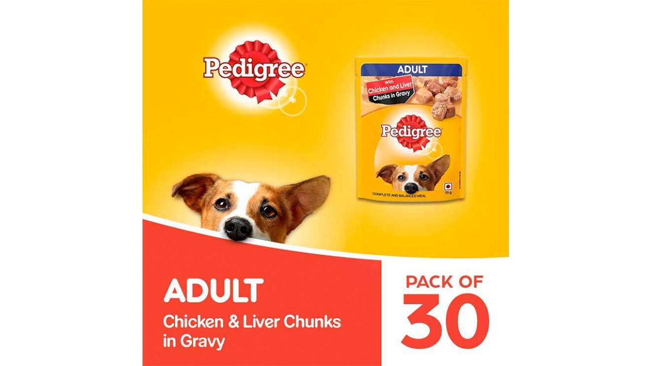 Pedigree Adult Wet Dog Food, Chicken & Liver Chunks in Gravy, 70 g (Pack of 30) image