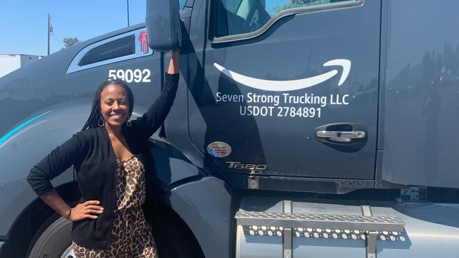 An image of a Black woman who is leading a company that supports Amazon's middle and last mile logistics operations.