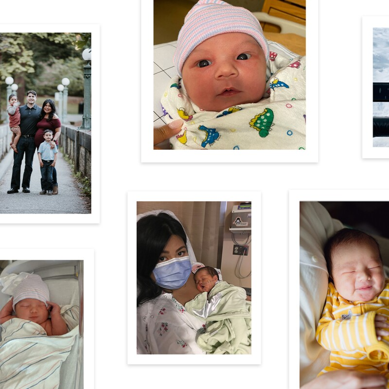 An image collage featuring images of newborn babies, mothers with their children, and families with their children.