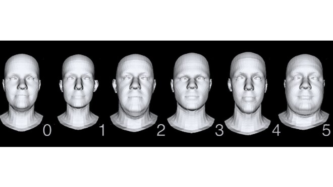 Six mannequin head graphics to test the mask sizes.