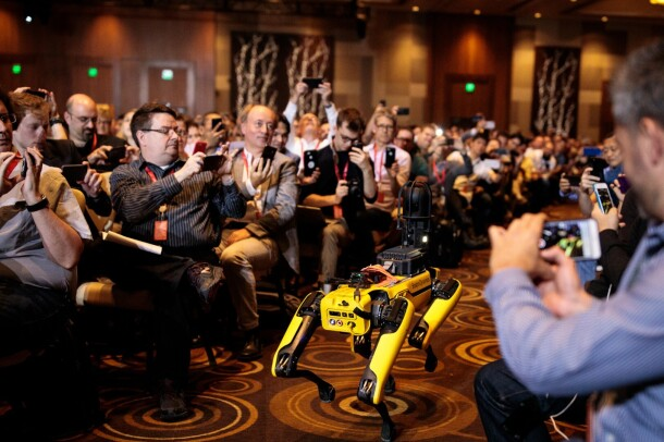 Marc Raibert, CEO and founder of Boston Dynamics, on stage at re:MARS 2019