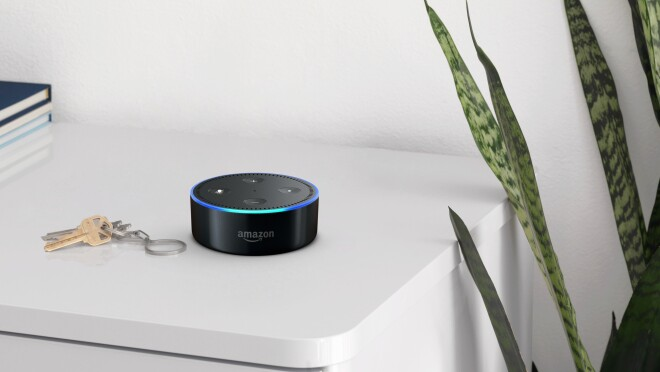 A black Amazon Echo dot on a shelf, next to a set of car keys. Books and a green plant are in the background.