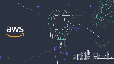 """An illustration of a hot air balloon with """"15"""" on it, and an AWS logo to the left."""