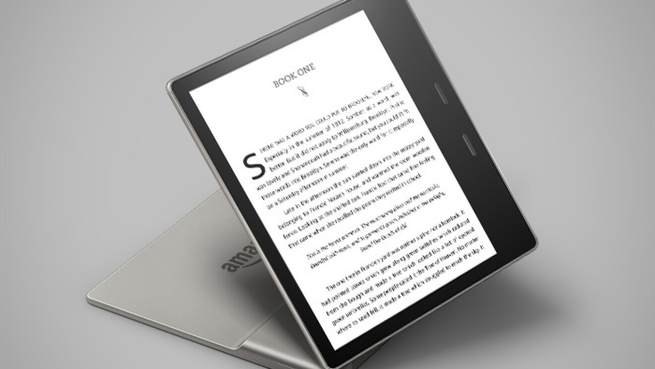 All-new Kindle Oasis device on a gray background.