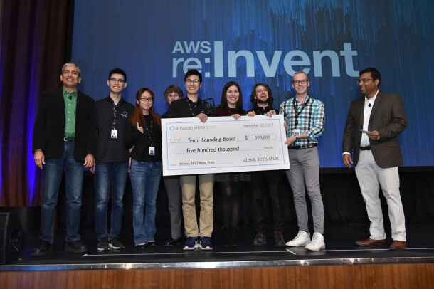 Amazon Alexa Prize Winners, from Team Sounding Board, hold the $500,000 first prize check.