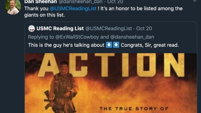 """Image of a tweet saying """"Thank you @USMCReadingList! It's an honor to be listed among the giants on this list."""""""
