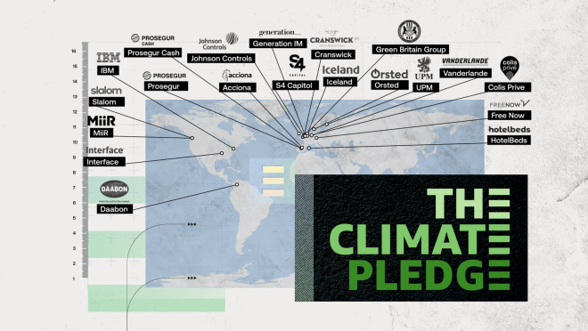 An illustration that shows the location of the newest signatories to The Climate Pledge, includign Daabon, Interface, Miir, Slalom, IBM, Prosegur, Prosegur Cash, Johnson Controls, Acciona, Generation IM, S4 Capitol, Cranswick, Iceland, Green Britain Group, Orsted, UPM, Vanderlande, Colis Prive, Free Now, and HotelBeds