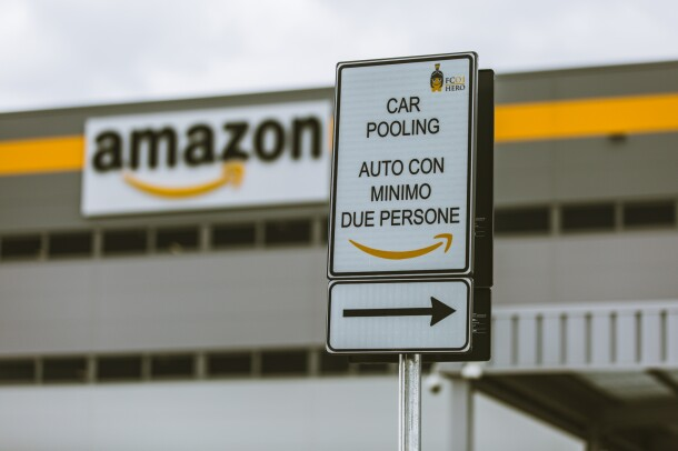A car pool sign outside of an Amazon fulfillment center in Italy