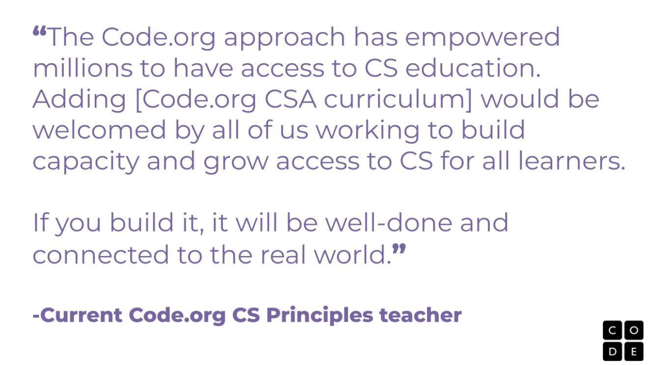A testimonial from a CODE.org teacher.