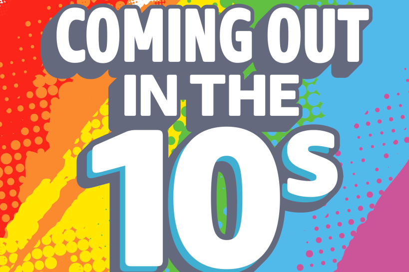 Logo of the London Pride playlist 'Coming out in the 10s'