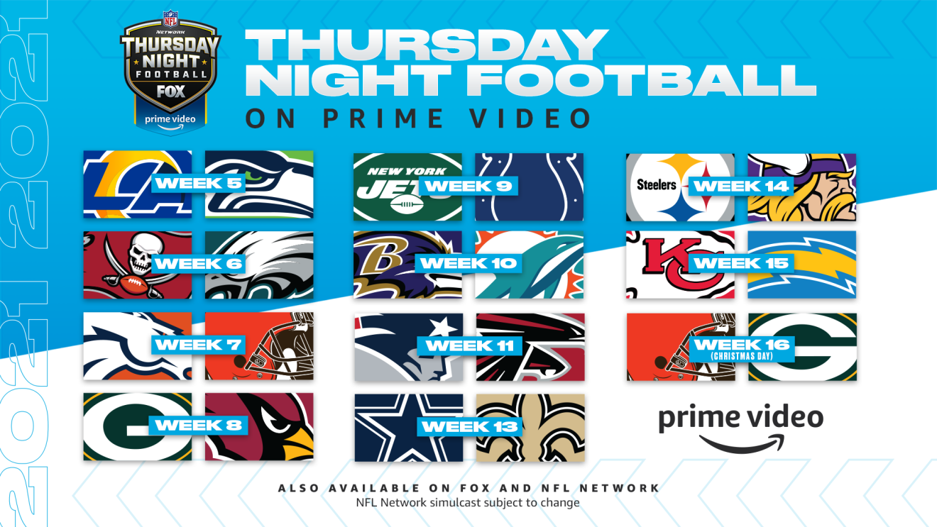 Thursday Night Football schedule showing week-by-week games to air on Prime Video.