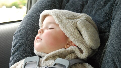 An infant wearing a hooded top with ears has fallen asleep in the carseat
