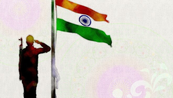 Independence Day, representative image of veteran with flag