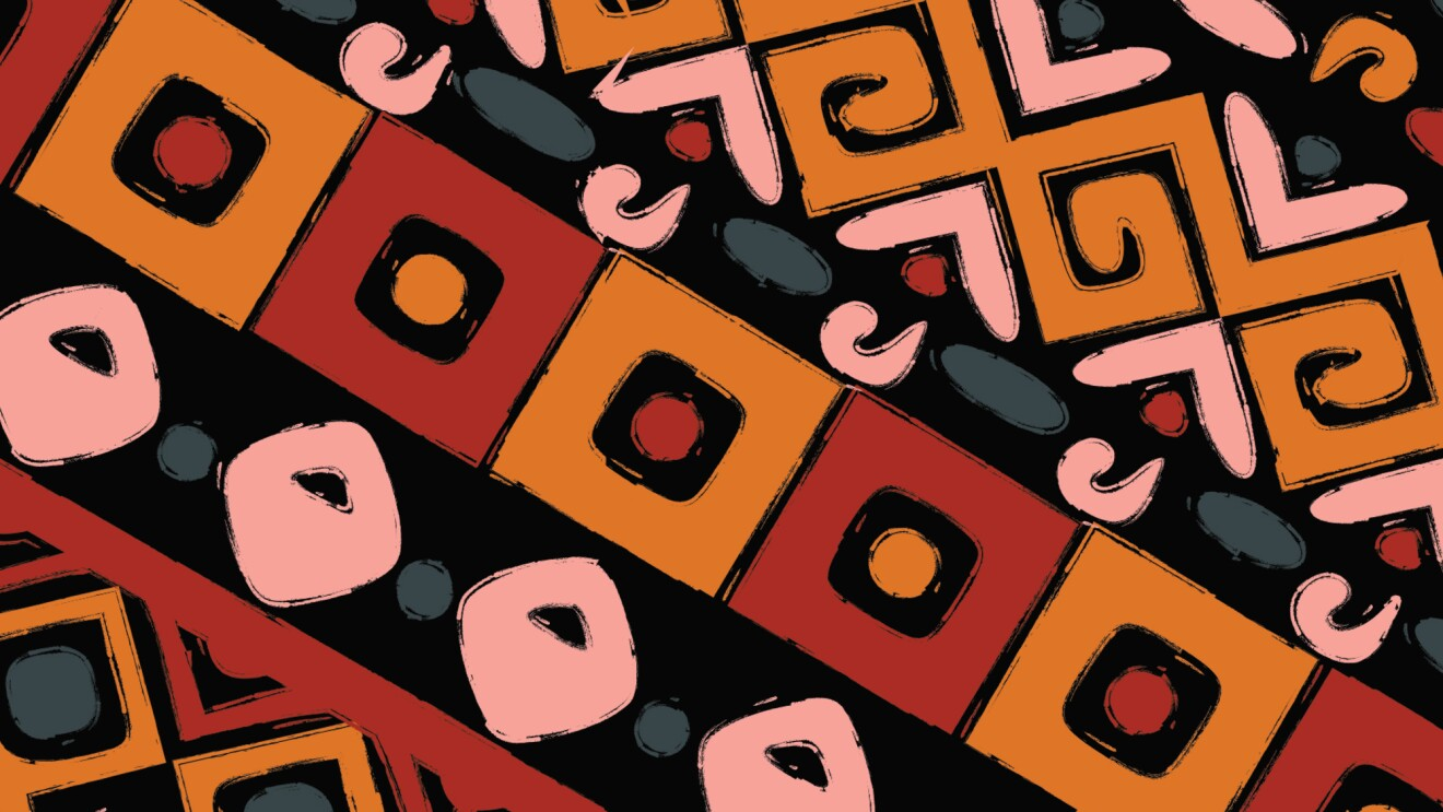 An illustration that shows repeating patterns in red, orange, coral, gray-blue on black.