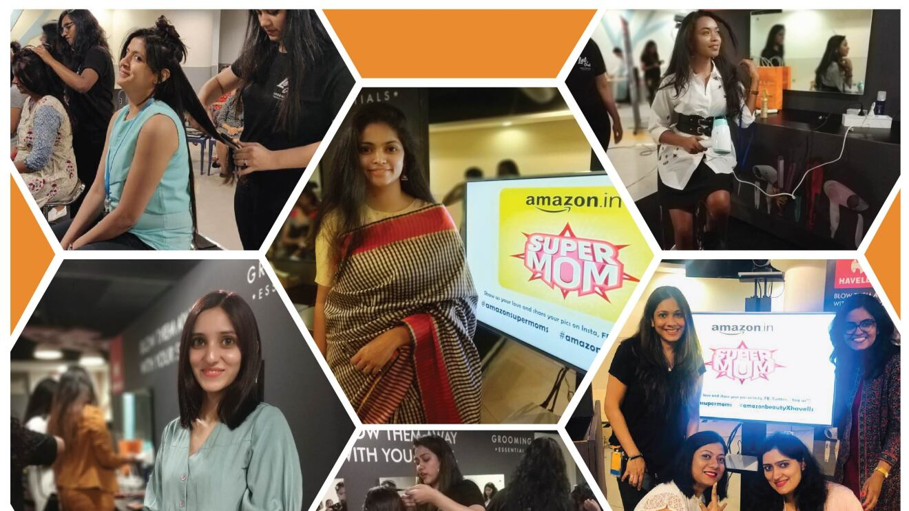 A collage of pictures where mothers are getting a makeover