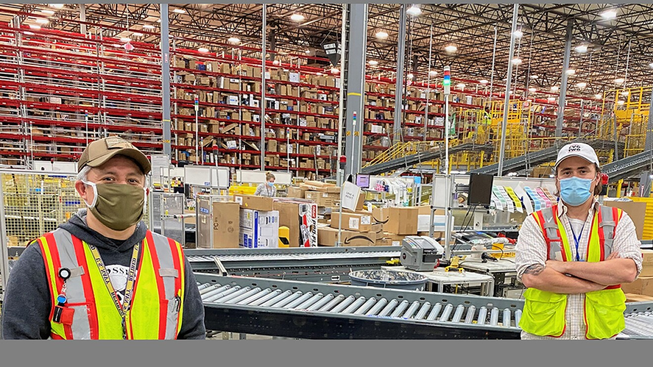 Faces of Amazon associates working at Amazon fulfillment centers