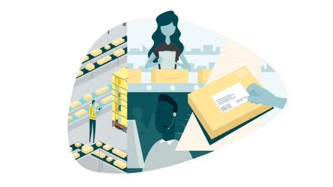 An illustration showing Amazon employees processing orders at various points of the delivery process.