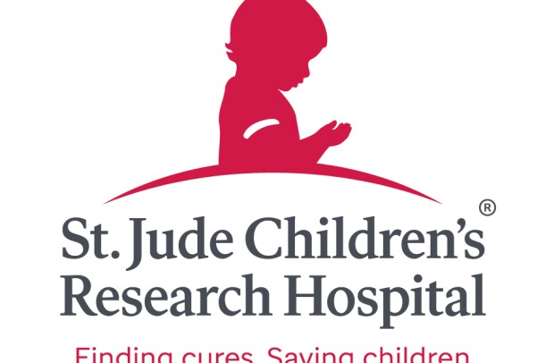 """An image of the logo for St. Jude Children's Research Hospital. The hospital's slogan reads """"Finding cures. Saving children."""""""