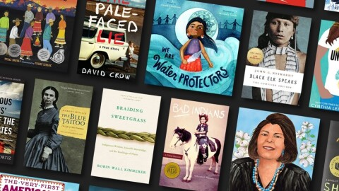 An image showing book covers for the recommended reading list for Indigenous Peoples' Day.