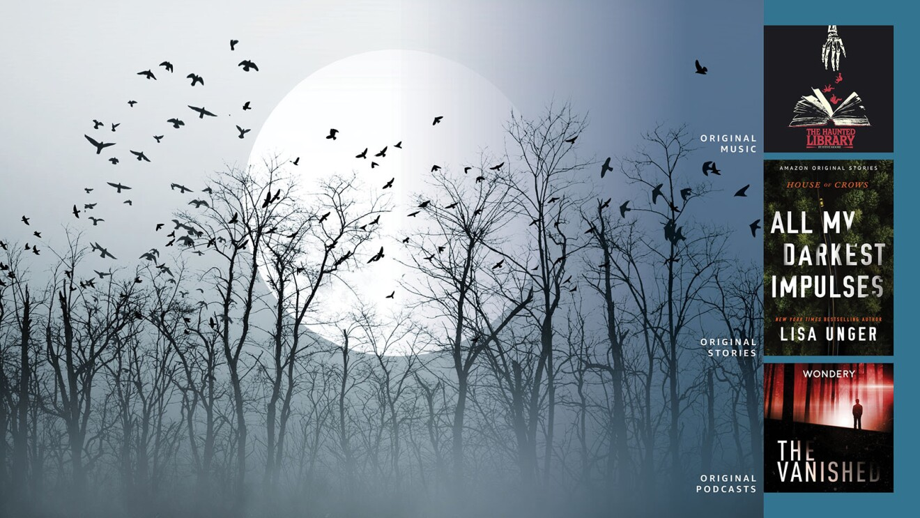 A gray image of an ominous forest with black, dead trees and crows flying above them. There is a large moon in the background. On the side of the image are three smaller images with cover art for an album, a book, and a podcast.