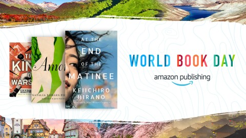 "Images from around the world border the font that reads ""World Book Day"" by Amazon Publishing. There are three books to the left of the font on the image."