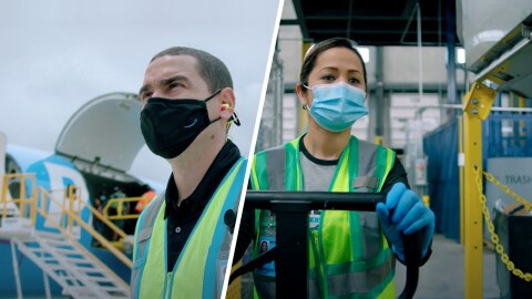 A split image. One side shows a man working at Amazon, wearing a black mask with the Amazon logo on it and a safety vest and standing near a plane. The other side of the image shows a woman wearing a surgical mask and a safety vest and gloves while pushing a cart in an Amazon facility.