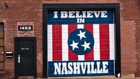 "Mural in Nashville that says ""I believe in Nashville"""