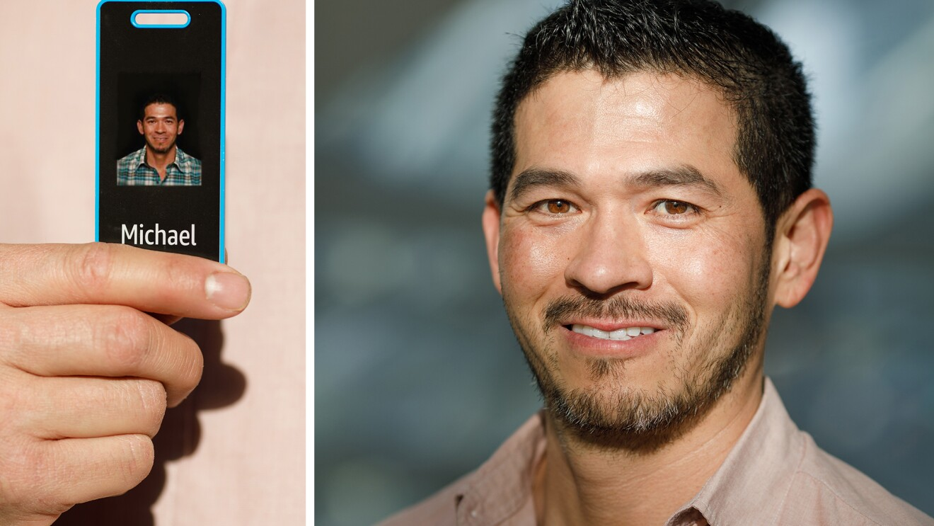 Photos of Michael Fong and his Amazon ID badge.