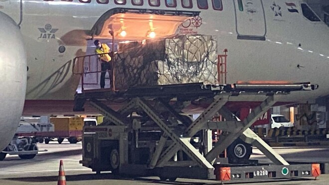An image showing freight being loaded into an airplane. The product is ventilators being sent to India to support hospitals and organizations during a resurgence of the COVID-19 pandemic.