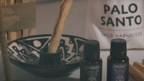 A ceramic insense holder, with Palo Santo and essential oils.