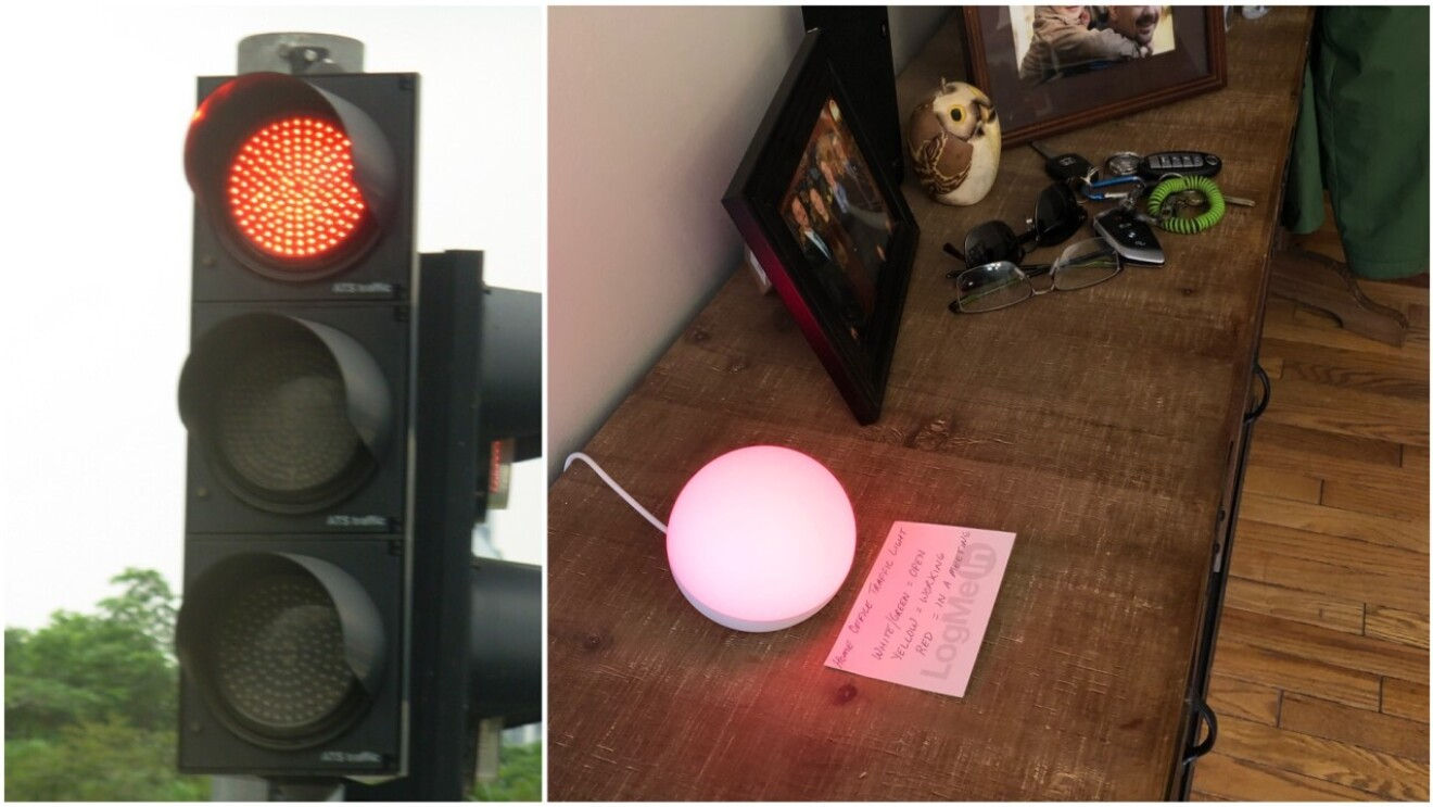 A composite image of stoplight and an Amazon Echo device being used to help manage a coworkering space.