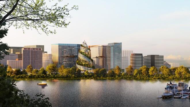 A rendering of Amazon's PenPlace campus in Arlington, Virginia.