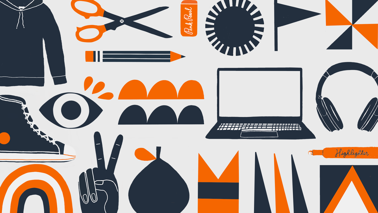 A graphic with illustrations of school supplies, clothing, and technology for back to school. Illustrations are in dark blue and orange.