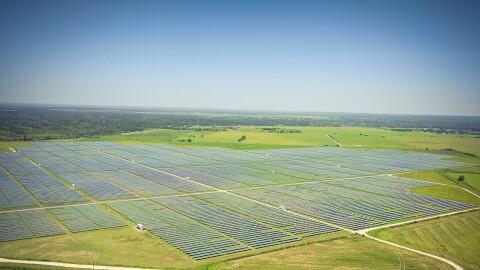 Aerial view of a Texas solar farm