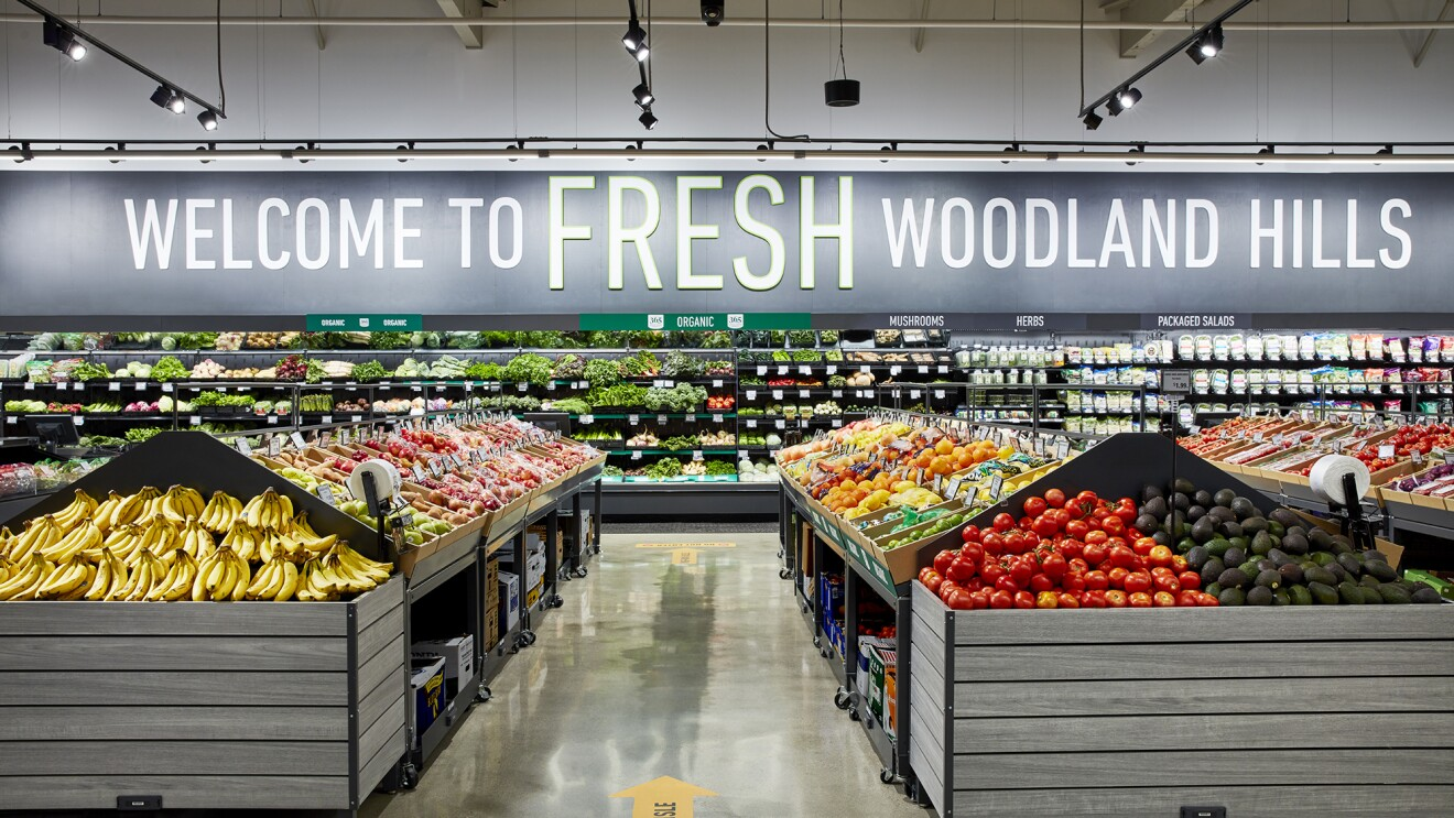 Inside an Amazon Fresh grocery store in California