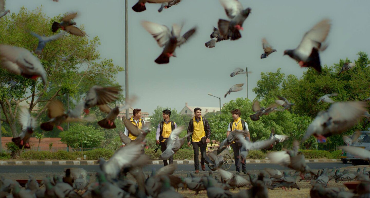 Four men in delivery vests walk next to a group of pigeons