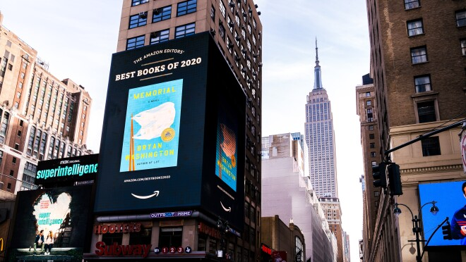 New York Square takeover of book title included Amazon's Best Books of the Year 2020 list.