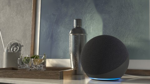An image of an Echo device sitting on a side table next to a framed artwork and other home decor.