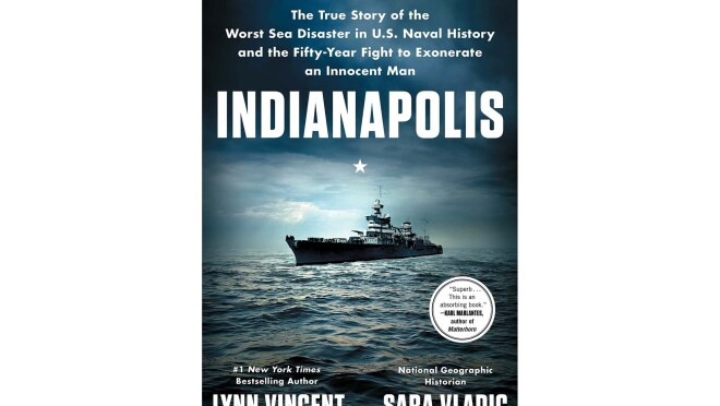"Best books of the year #3 pick, ""Indianapolis,"" by Lynn Vincent and Sara Vladic. In the image, a military ship is in the middle of the ocean, the sky looks dark and soon-to-be stormy."