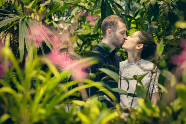 Amazonian engagement photos in The Spheres