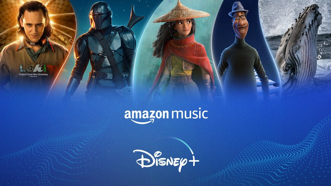 """An image with scenes from Loki, The Mandalorian, Raya, Soul, and National Geographic. Below those images, is a pattern on blue, with """"Amazon Music, Disney+"""" on it."""