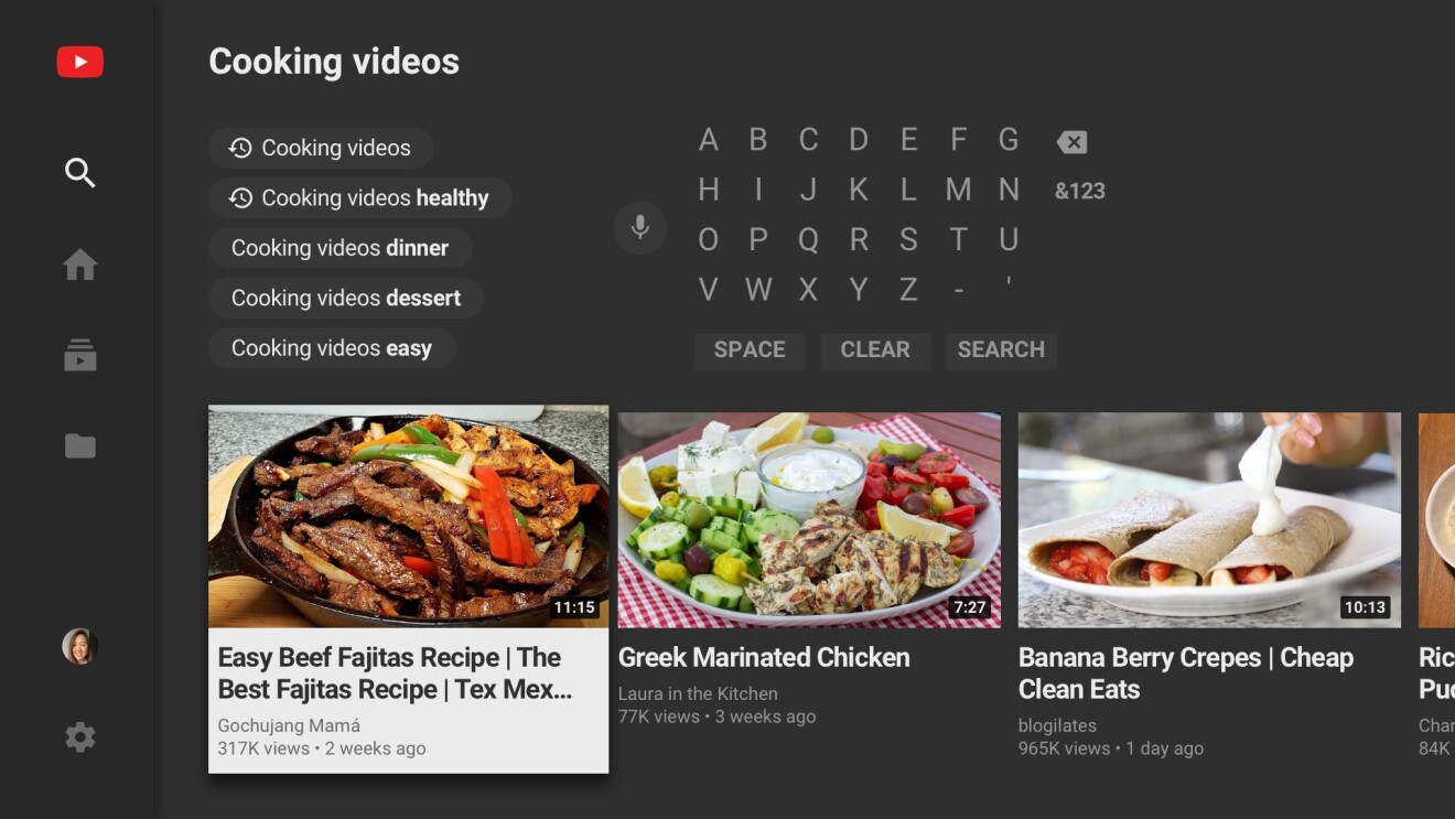 YouTube search menu for cooking videos on Fire TV
