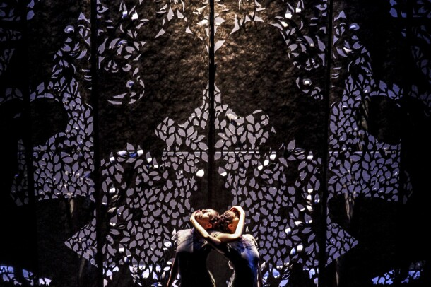 Backdrop for the show BeginAgain, by zoe / juniper, created by Celeste Cooning