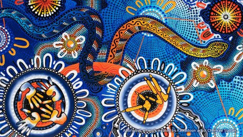 Aboriginal artwork created by a Kalkadoon artist.